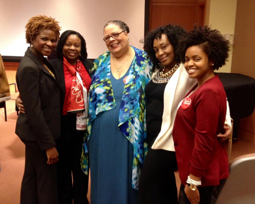 Keynote speaker Karen Lewis with members of Delta Sigma Theta Sorority, Inc.